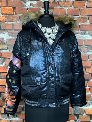 Black Moto Jacket w/Sparkly Jewels