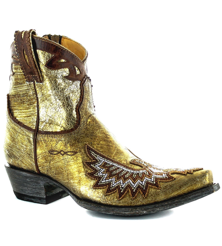Eagle Beaded Gold Metallic Bootie