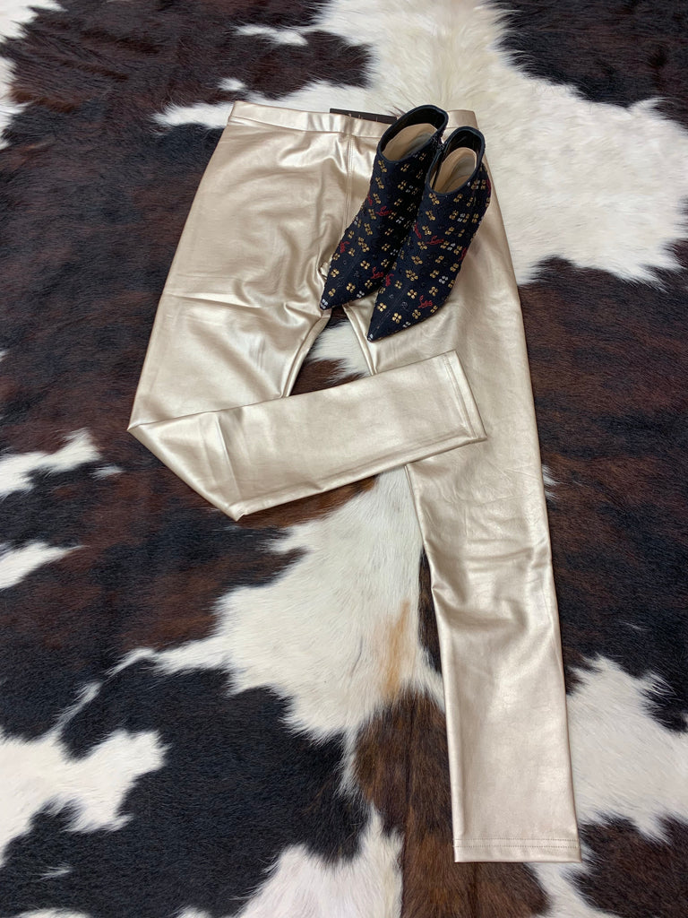 Pleather Leggings/Gold