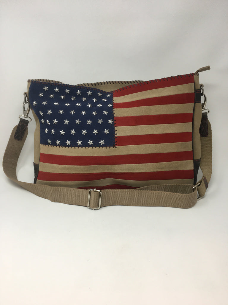 Suede Flag Crossbody w/Studded Stars