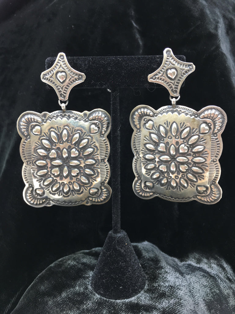 Southwest Silver Earrings - Square