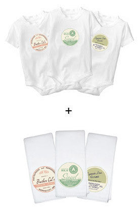 Personalized Baby Onesies + Burp Cloths Deluxe Set - Retro Milk Bottle Cap Design