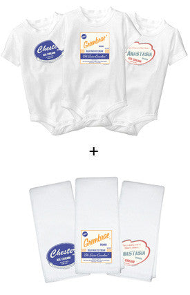Personalized Baby Onesies + Burp Cloths Deluxe Set - Retro Ice Cream Design