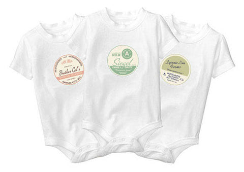 Personalized Baby Onesies - Retro Milk Bottle Cap Design