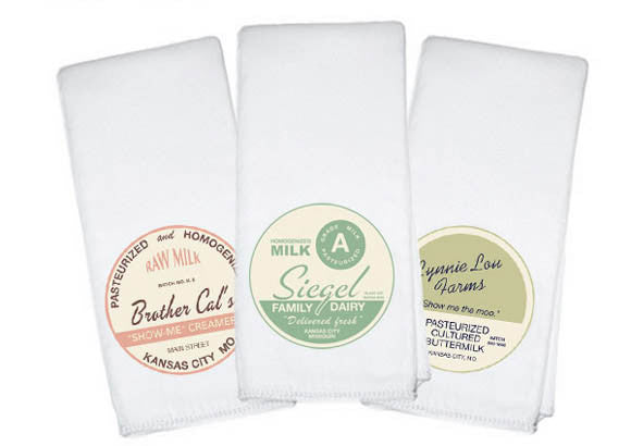 Milk Bottle Cap Burp Cloths (set of 3) - Retrofit Baby