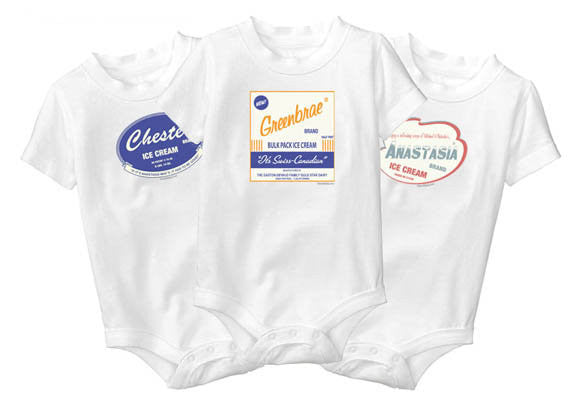 Personalized Baby Onesies - Retro Ice Cream Design