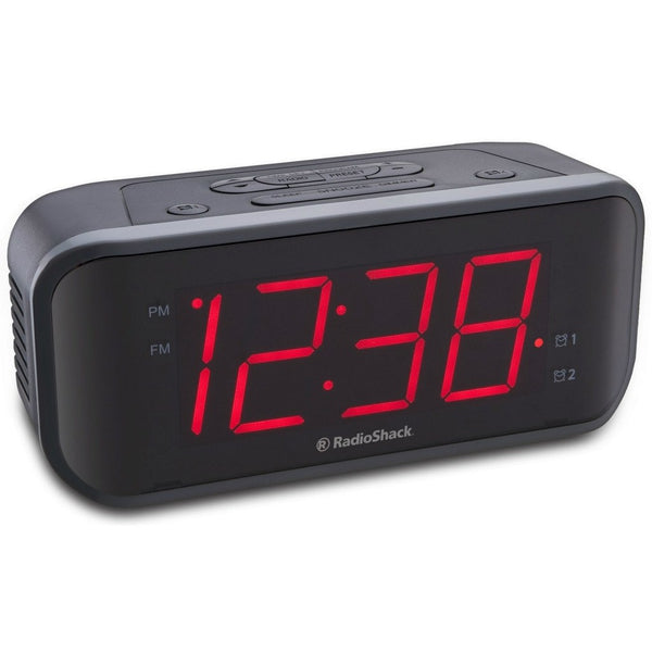 1 8 inch red led extra loud dual alarm clock radio radioshack. Black Bedroom Furniture Sets. Home Design Ideas