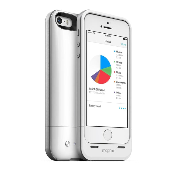 Mophie Space Pack Air 32GB Cell Phone Case Apple iPhone 5S (White)