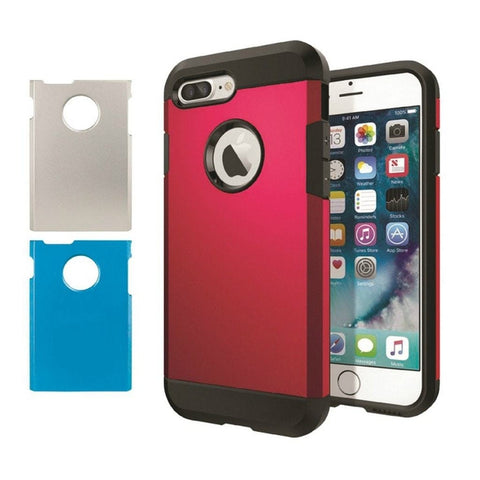Accelorize Armor Apple iPhone 7 Cell Phone Case with 3 Interchangeable Back Plates in (Red/Blue/Silver)