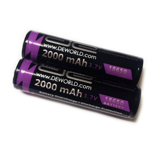 18650 3.7V/2000mAh Lithium Batteries (2-Pack)