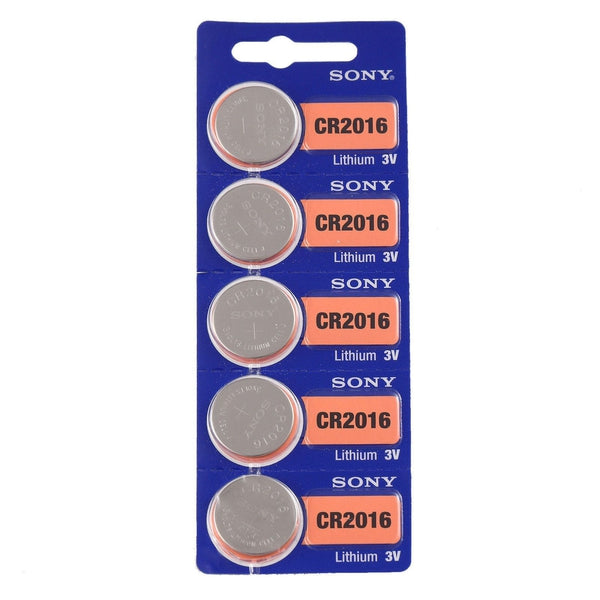 CR2016 3V Lithium Button Cell Battery - Sony, 5-Pack