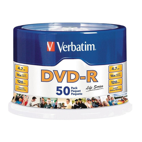 Verbatim DVD-R 4.7GB 16X Spindle (50-Pack)