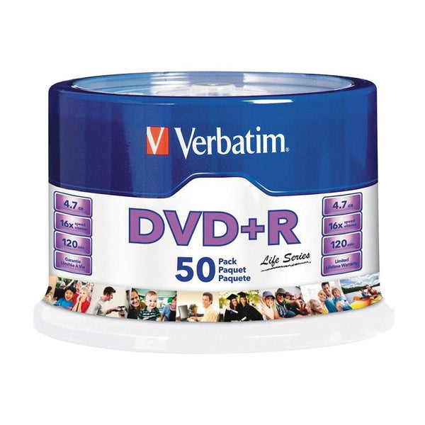 Verbatim DVD+R 4.7GB 16X Spindle (50-Pack)