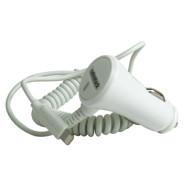 Lightning Car Charger with Extra USB Port (White) 5V 1A