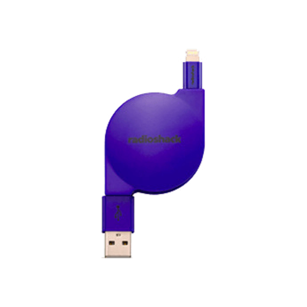 2 Foot Retractable Lightning Charge Sync Cable Blue