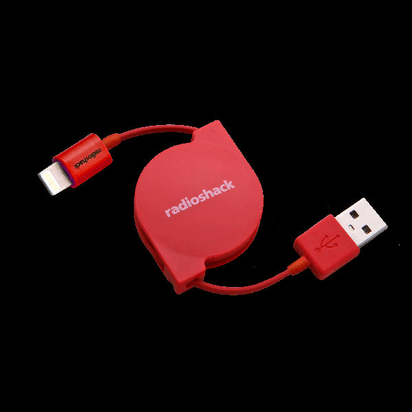 RadioShack 2-Foot Retractable Lightning Charge/Sync Cable (Red)