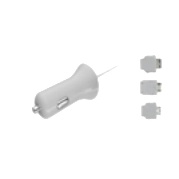 Micro USB Car Charger with Samsung/LG/Pantech Tips (White) 5V 1.2A