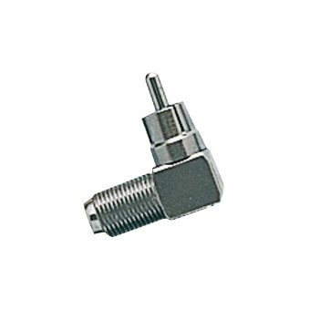 Male RCA Phono to Female F-Type Right-Angle Adapter