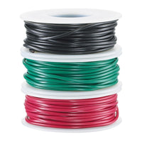 22-Gauge Stranded Hookup Wire 3-Pack - 25 Feet per Spool - Red, Black & Green