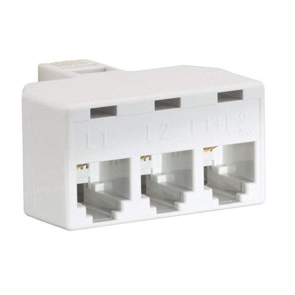 2-Line 3-Way Jack Adapter (White)