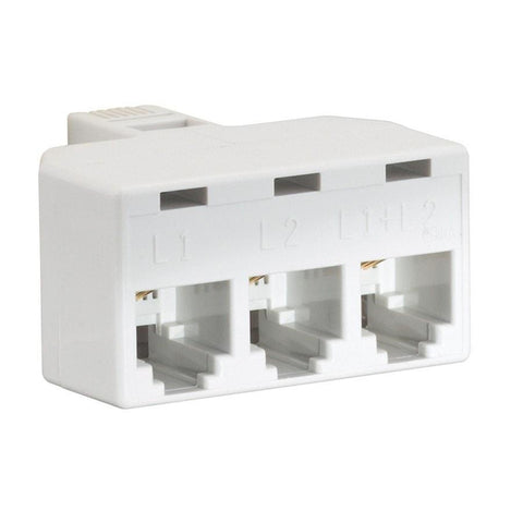 RadioShack 2-Line 3-Way Jack Adapter (White)