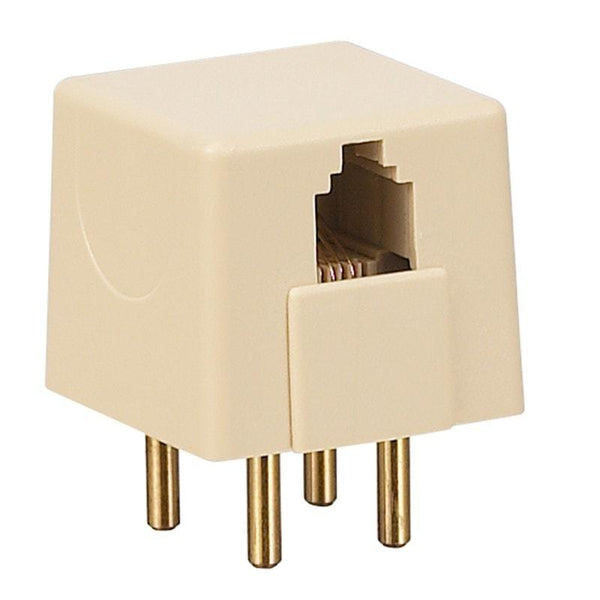 4-Prong Male to RJ14 Female Modular Adapter (Ivory)