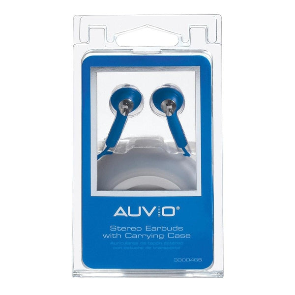 AUVIO® Earbuds w/ Carrying Case (Blue)