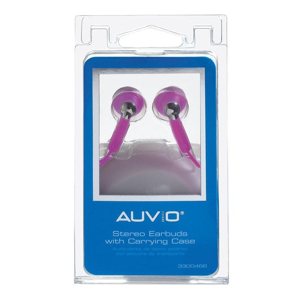 AUVIO® Earbuds w/ Carrying Case (Purple)