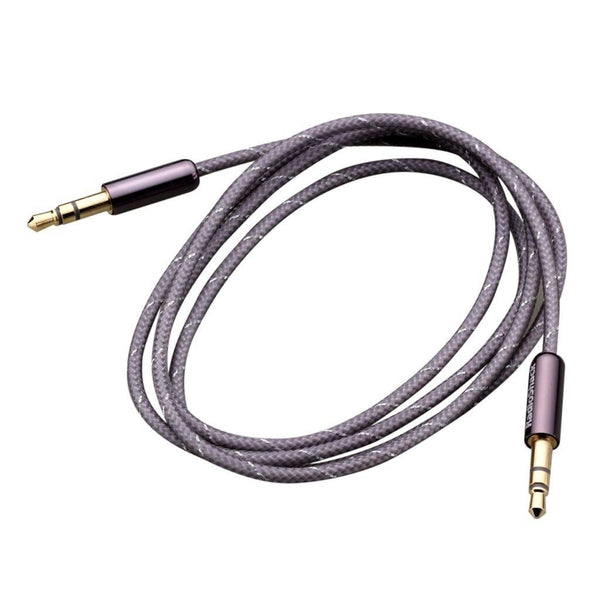 "3-Foot 1/8"" (3.5mm) Stereo to Stereo Audio Braided Cable - Grey"