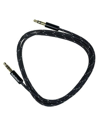 "3-Foot 1/8"" (3.5mm) Stereo to Stereo Audio Braided Cable - Black"