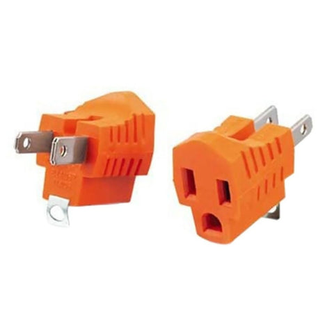 1-Outlet Grounded Plug Adapter (2-Pack)