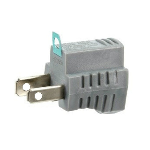 Grounded Plug Adapter - Grey (2-Pack)