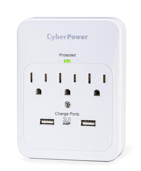 CyberPower 3-Outlet Wall Tap Surge Protector with 2 USB Ports