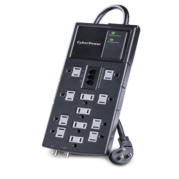 CyberPower 12-Outlet Surge Protector with 8-Foot Cord & Phone Coax Protection