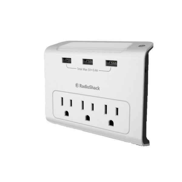3 outlet wall tap with nightlight 3 usb ports radioshack. Black Bedroom Furniture Sets. Home Design Ideas