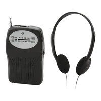 GPX Portable AM/FM Pocket Radio with Lightweight Headphones