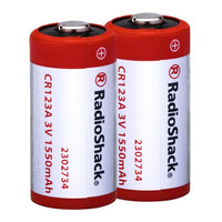 CR123A 3V 1500mAh Lithium Batteries: 2-Pack