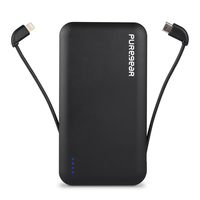 PureGear PureJuice 10,000mAh Portable Power Bank with Built-In USB-C & Lightning Cables