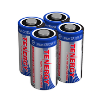 Tenergy CR123A 3V Lithium Batteries, 1400 mAh: 4-Pack