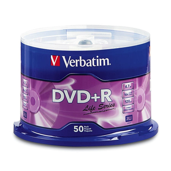 Verbatim DVD+R Life Series 4.7GB 16X Optical Media - (50-Pack)