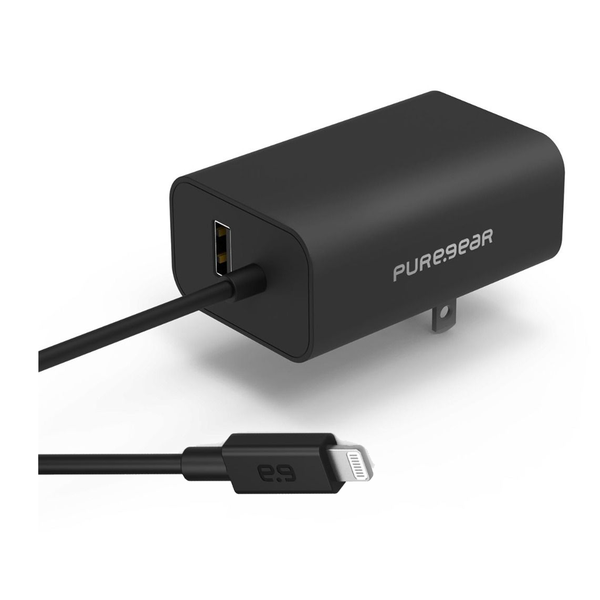Image of 24W USB-A Wall Charger with Built-In 5' Lightning Cable - Black