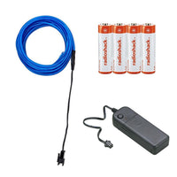 EL Wire Kit with Inverter and Batteries - 10 feet (Blue)