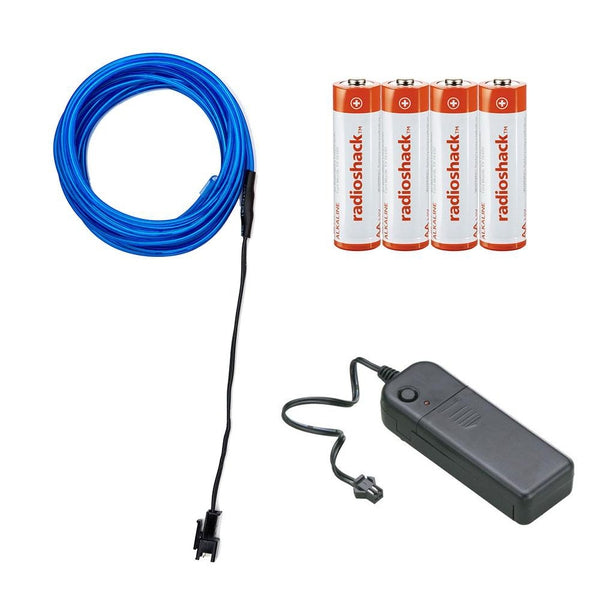 Electroluminescent Wire Kit with Inverter and Batteries - 10 feet (Blue)