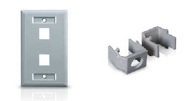 2 Port Wall Plate with Snap-In Cover Inserts