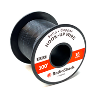 18 AWG Solid Copper Hook-Up Wire: Black  		 /  100'