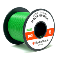 18 AWG Solid Copper Hook-Up Wire: Green  		 /  100'