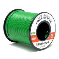 22 AWG Solid Copper Hook-Up Wire: Green  		 /  100'