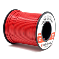 22 AWG Solid Copper Hook-Up Wire: Red  		 /  100'