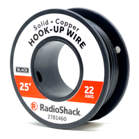 22 AWG Solid Copper Hook-Up Wire: Black  		 /  25'