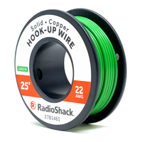 22 AWG Solid Copper Hook-Up Wire: Green  		 /  25'